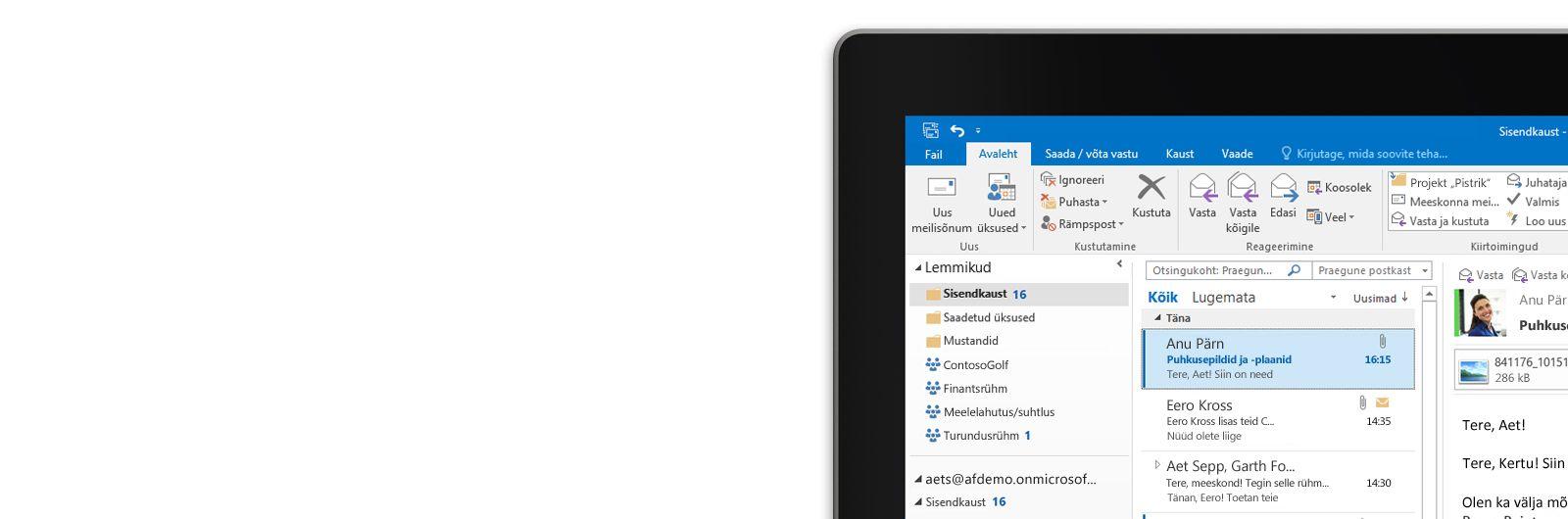 Tahvelarvuti ekraan, kus on näha Microsoft Outlook 2013 postkast koos sõnumiloendi ja eelvaatega.