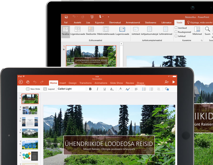 Tahvel- ja sülearvuti, mille ekraanil on kuvatud PowerPointi esitlus Pacific Northwesti reisibüroost