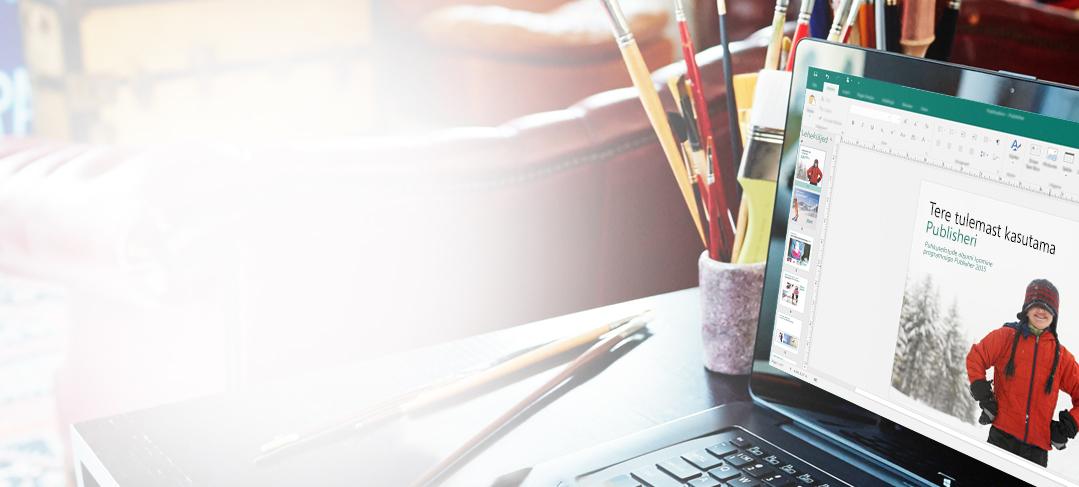 Lauaarvuti ekraan, kus on näha Microsoft Publisher 2013 kuva Viimatine