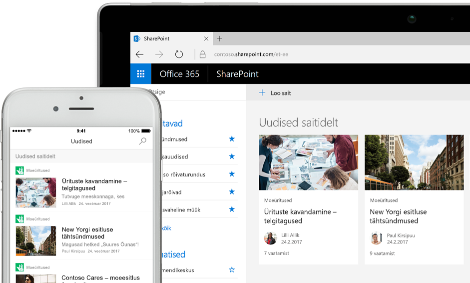 SharePointi rakendus nutitelefonis, kus on kuvatud uudised, ja tahvelarvutis, kus on kuvatud uudised ja saidikaardid