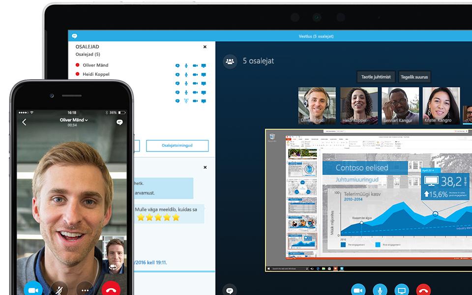 Sülearvuti, mille ekraani nurgas on näha pooleli olev Skype'i ärirakenduse koosolek koos osalejate loendiga