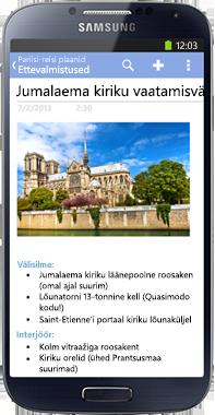 OneNote Android telefonidele