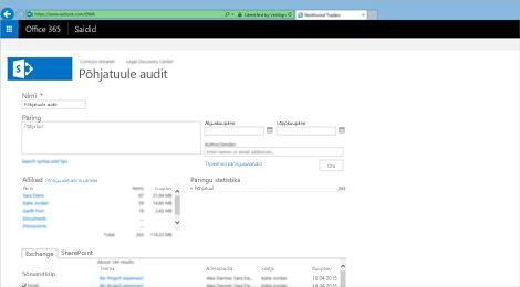 Exchange Online'i arhiivimisteenuse tulemuste loendi eelvaate lähivõte.