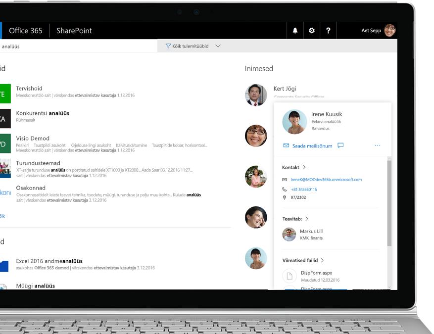 SharePointi loend, kus on kuvatud puhkusetaotlused ja uue puhkusetaotluse lisamisel Flow' automaatse meilisõnumi saatmise toiming