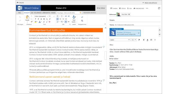 Dokumendi manustamise eelvaate paani kõrval kuvatud meilisõnum Word Online'i kasutamisel
