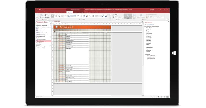 Tahvelarvuti, mille ekraanil on kuvatud Accessi andmebaas
