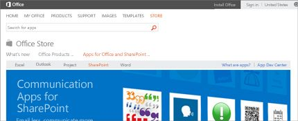 Kuvatõmmis Office'i poe SharePointi minirakenduste lehest.