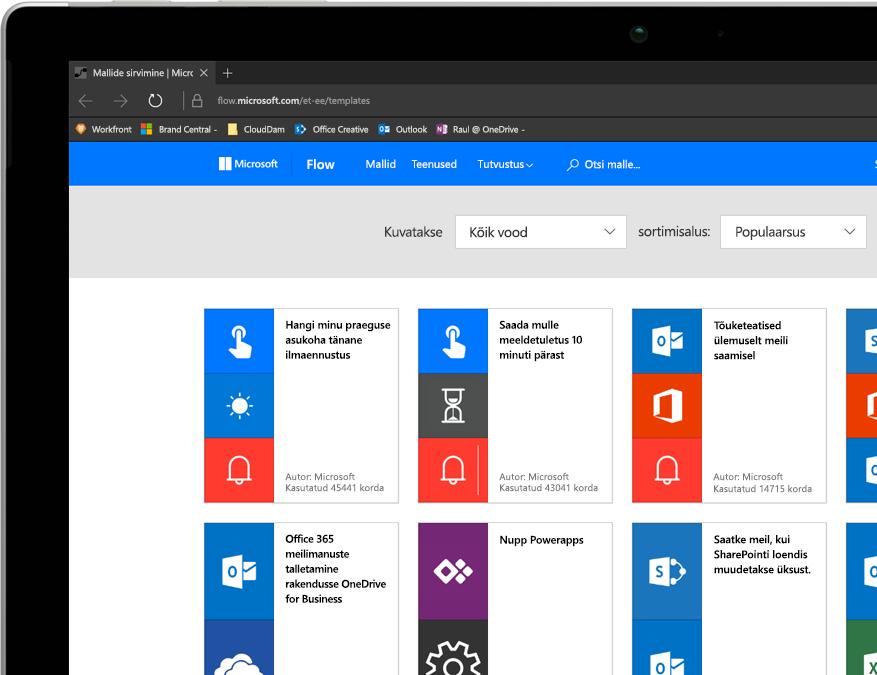 Windows-tahvelarvuti, kus töötab Flow