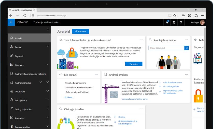 Tahvelarvuti, kus on kuvatud Office 365 turbe- ja vastavuskeskuse avaleht
