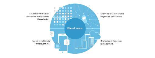 TEI uuringust võetud diagramm, mis näitab neljaosalist strateegiat ettevõtteülese teisenemise korraldamiseks
