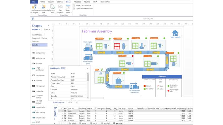 Lähivõte andmetega lingitud Visio skeemist koos arvutustabeli ja kujundiandmetega.