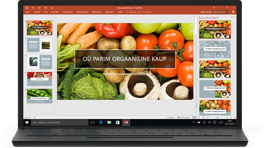 PowerPointi kujundusriist sülearvutis