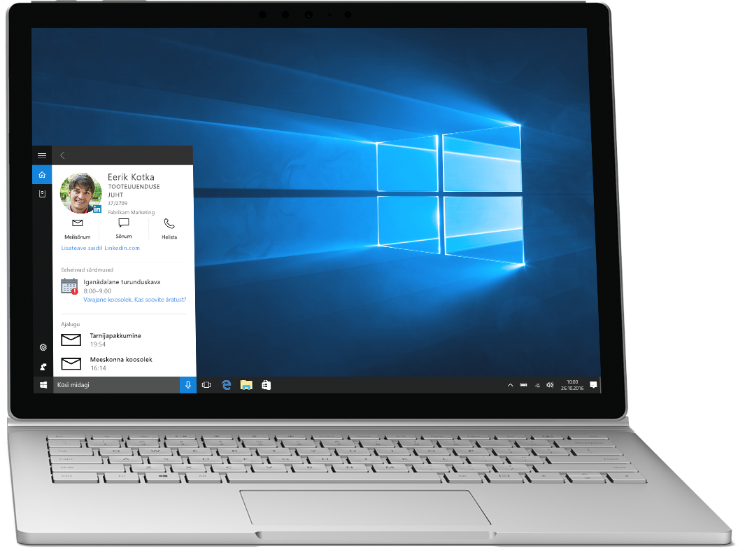 Sülearvuti, mille ekraanil on kuvatud Cortana operatsioonisüsteemis Windows 10