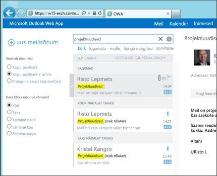 Lähivõte kasutaja sisendkaustast Outlook Web Appis.