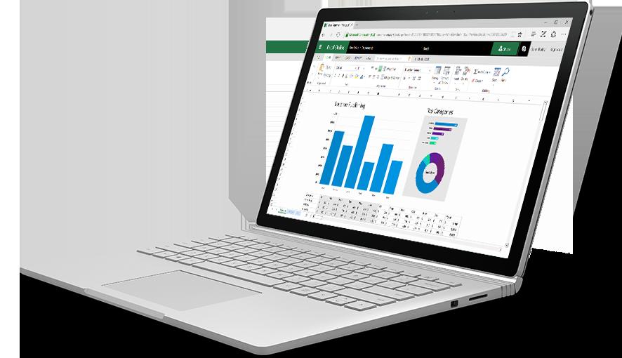 Sülearvuti, mille ekraanil on kujutatud värvilised diagrammid ja graafikud Excel Online'i arvutustabelis.