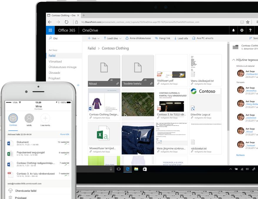 nutitelefoni ja sülearvuti ekraanil kuvatavad SharePointi failid