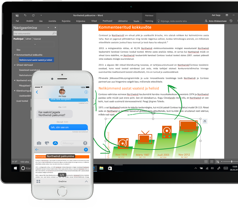 nutitelefoni ja tahvelarvuti ekraanil kuvatavad OneDrive'i failid