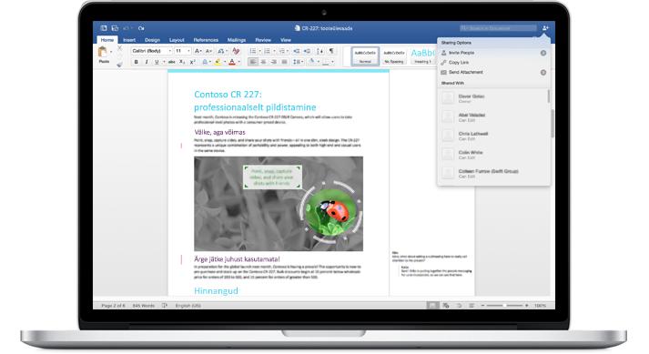 Sülearvuti, kus on kuvatud Wordi dokument koos kommentaaride ja ühiskasutussuvandite menüüga.