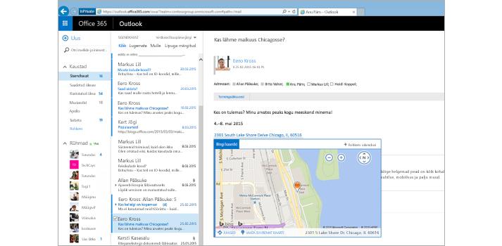 Lähivõte kasutaja sisendkaustast Outlooki veebirakenduses, mis töötab Exchange'i toel.