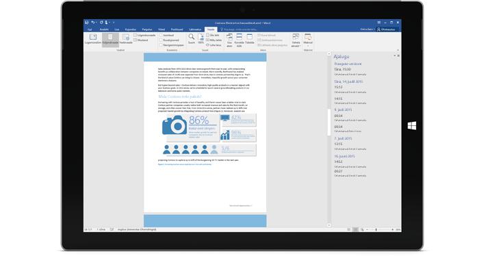 Tahvelarvuti, kus on kuvatud Office 365 dokumendi versiooniajalugu.