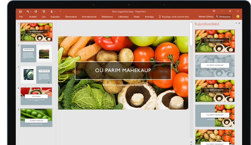 Tahvelarvuti, mille ekraanil on näha PowerPointi esitlusslaid ja kujundusriist