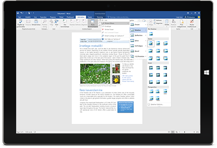 Seade Surface, kus on näha Wordi dokumendi uus funktsioon Juhata mind.