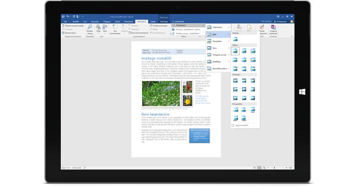 """Surface'i seade, mille ekraanil kuvatakse Wordi dokumendi uus funktsioon """"Mida soovite teha?"""""""