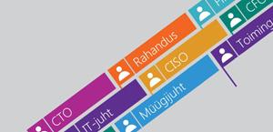 Koostöölipud hallil taustal, mis tähistavad erinevaid töökohustusi ja rolle