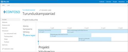 Lähivõte SharePointis avatud projekti kokkuvõtte ajaskaalast.