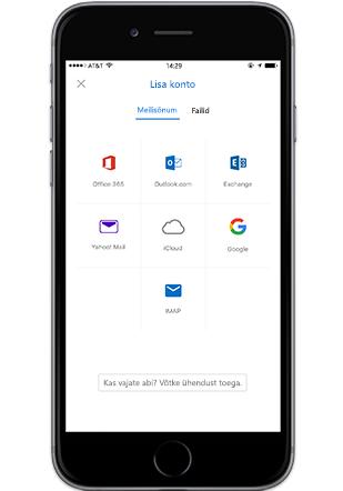 Nutitelefon, mille ekraanil kuvatakse Outlooki mobiilirakenduse kuva Konto lisamine
