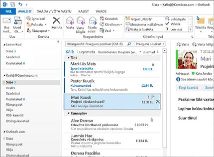 Kuvatõmmis, kus on näha Microsoft Outlook 2013 postkast koos sõnumiloendi ja eelvaatega.