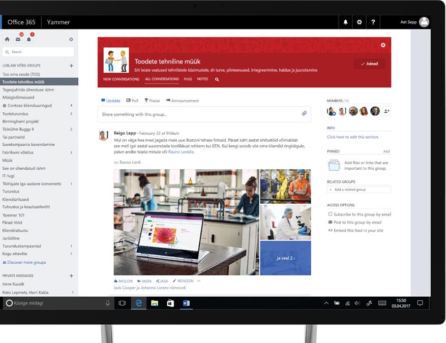 Yammer tahvelarvutis, mille ekraanil on näha piltide ühiskasutusse andmine ja ristfunktsionaalne tehnilise müügi rühm