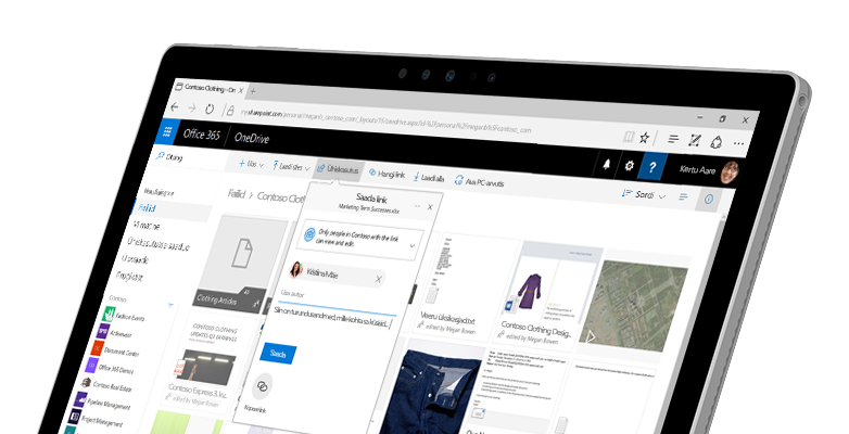 Tahvelarvuti, mille ekraanil on näha kaks inimest, kes töötavad võrgu kaudu Wordi dokumendis