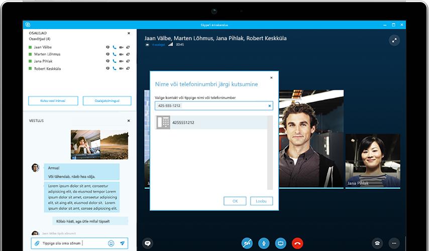 Inimene tipib Surface'i tahvelarvutisse teksti ja ekraanil on kuvatud Skype'i ärirakenduse võrgukoosolek