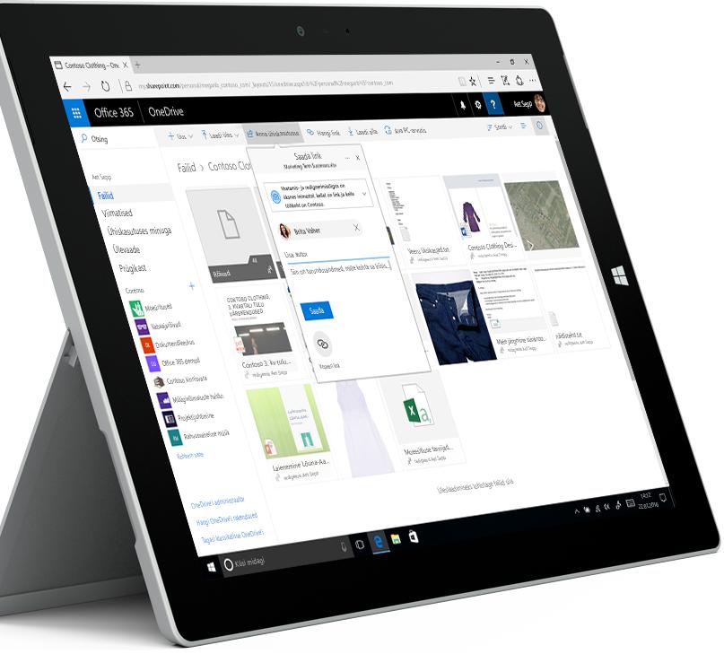 tahvelarvuti ekraanil kuvatavad OneDrive'i failid