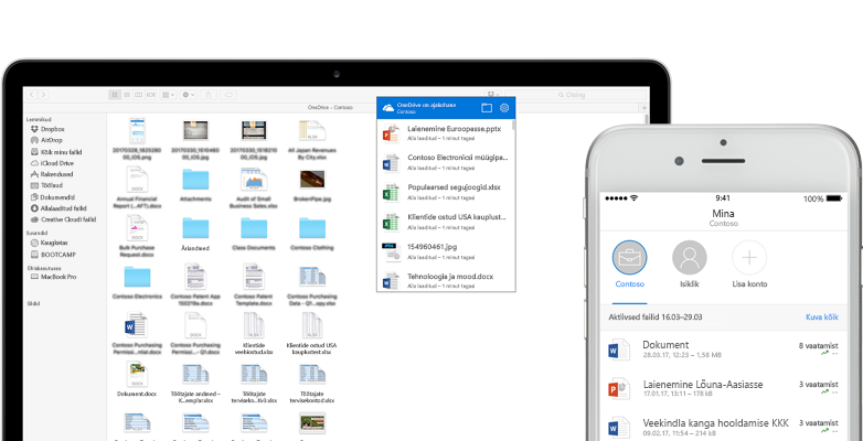 Sülearvuti ja nutitelefon, kus on näha Wordi, Exceli ja PowerPointi failid, pildid ja kaustad OneDrive'is
