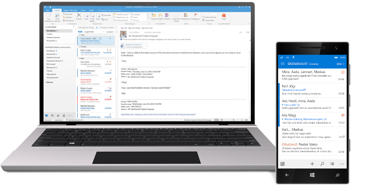 Tahvelarvuti ja nutitelefon, kus on näha Office 365 meilipostkast.