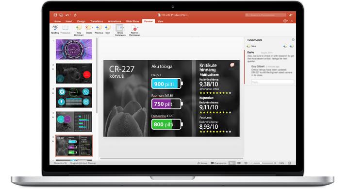Sülearvuti, mille ekraanil on näha meeskonna ühistööna valminud PowerPointi esitlus