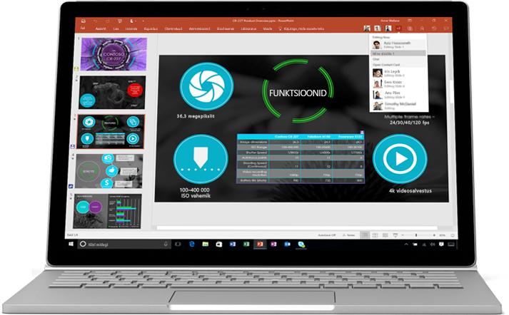 Sülearvuti, mille ekraanil kuvatakse meeskonna ühistööna valminud PowerPointi esitlus