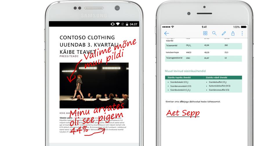 Kaks nutitelefoni, mille ekraanil on kuvatud dokumendid ja nende kohta käivad käsitsi tehtud märkmed