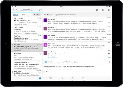 Tahvelarvuti, kus on reklaamivaba postkast koos teenusekomplektiga Office 365.
