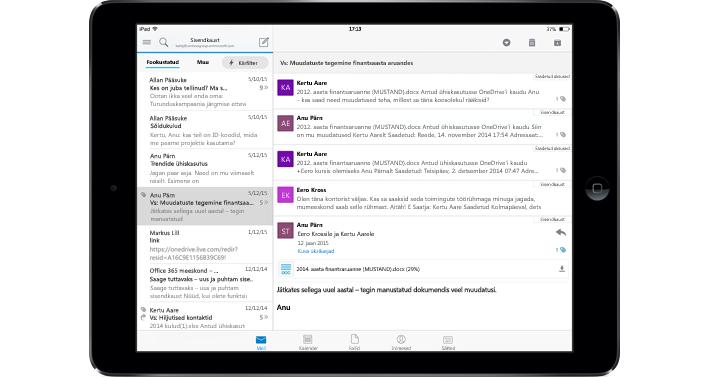 Tahvelarvuti, kus on näha reklaamivaba postkast koos teenusekomplektiga Office 365.