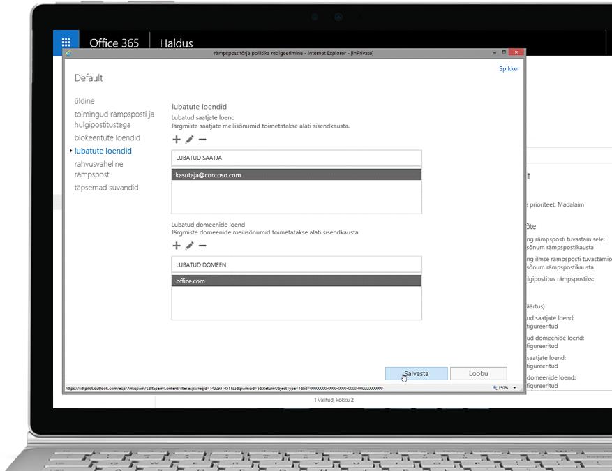 Tahvelarvuti, mille ekraanile on kuvatud Office 365 halduskonsool, esiplaanil on avatud rämpspostivastaste seadete redigeerimise aken, kus on näha lubatud saatja ja lubatud domeeni väli