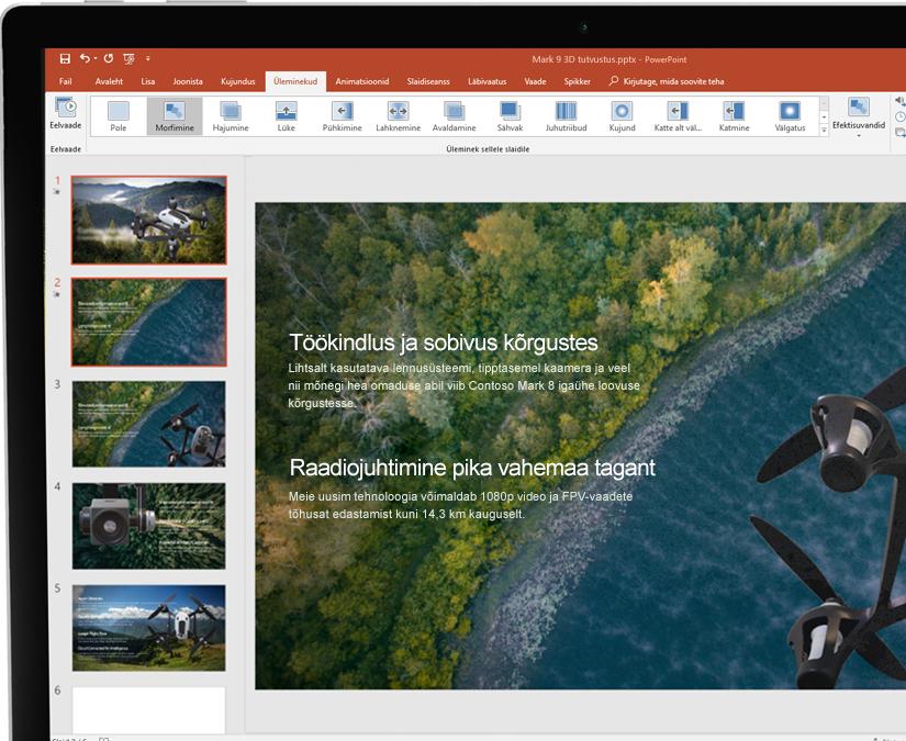 Pliiatsiga tahvelarvuti, kus on kuvatud Microsoft PowerPointi esitlus