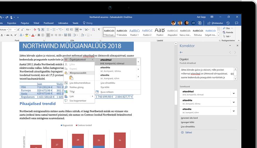 Sülearvuti, mille ekraanil on kuvatud Wordi dokument ning lähivõte uurimispaani funktsioonist ja Amazoni vihmametsa puudutavast artiklist.