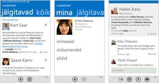 Kolm kuvatõmmist SharePoint Online'i uudistekanalist erinevates mobiilsideseadmetes.