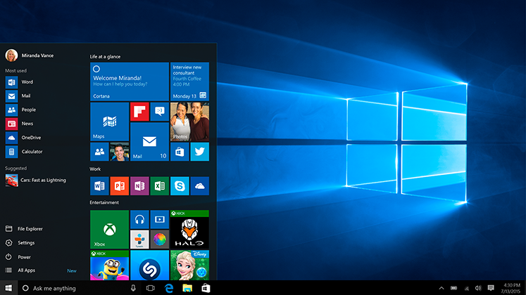 Sülearvuti Windows 10 menüüga Start