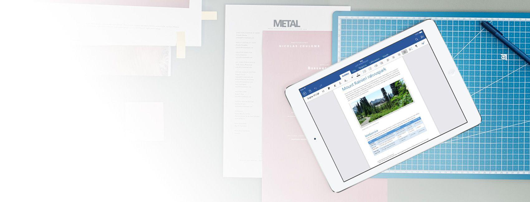 iPad, mille ekraanil on iOS-ile ette nähtud Wordi rakenduses avatud Wordi dokument Mount Rainier' rahvuspargi kohta