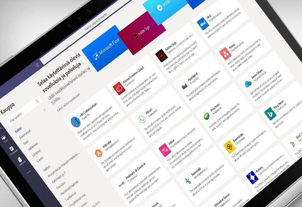 Kannettavan näyttö, jossa näkyy Microsoft Teams -sovellus