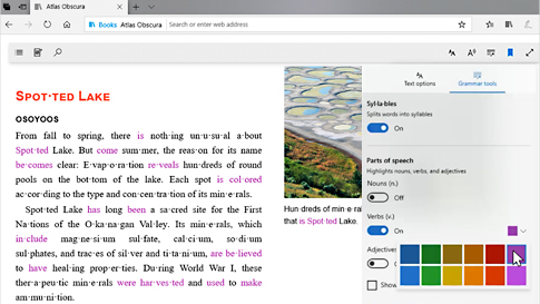 Microsoft Edge -selain, jossa näkyy puheen tunnistuksessa käytettävien kielioppityökalujen mukautetut värit.
